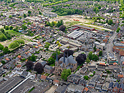 Nederland, Noord-Brabant,  Gemeente Loon op Zand; 14-05-2020; centrum van het dorp Kaatsheuvel. Winkels en de Johannes de Doperkerk.<br /> Center of the village Kaatsheuvel. Shops and the Johannes de Doperkerk.<br /> luchtfoto (toeslag op standard tarieven);<br /> aerial photo (additional fee required)<br /> copyright © 2020 foto/photo Siebe Swart