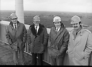 Tanaiste,Dick Spring,Visits Moneypoint..1984..23.11.1984..11.23.1984..23rd November 1984..The Tanaiste and Minister for Energy,Mr Dick Spring,visited Moneypoint Generating Station,Co Clare. He visited the site to view the progress of work there...Pictured high above the Moneypoint Generating Station were Mr Pat O'Brien,Station manager,Mr P.J.Moriarty,CEO,ESB,Mr Heber McMahon,Site Manager and Mr Dick Spring TD,Tanaiste and Minister for Energy.