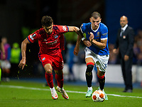 Football - 2021 / 2022  UEFA Europa League - Group A, Round One - Glasgow Rangers vs Lyon - Ibrox stadium - Thursday 16th September 2021<br /> <br /> Borna Barasic of Rangers vies with Lucas Paqueta of Olympique Lyonnais<br /> <br /> Credit: COLORSPORT/Bruce White