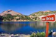 Lake Helen and sign under Lassen Peak, Lassen Volcanic National Park, California