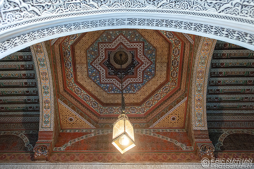 Ceiling in one of the rooms of the Bahia Palace in Marrakech, Morocco.