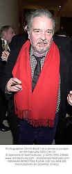 Photographer DAVID BAILEY at a dinner in London on 6th February 2002.<br />OXF 33