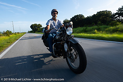 Don Baker riding his 1941 Indian 741B in the Cross Country Chase motorcycle endurance run from Sault Sainte Marie, MI to Key West, FL. (for vintage bikes from 1930-1948). Stage-9 covered 259 miles from Lakeland, FL to Miami, FL USA. Saturday, September 14, 2019. Photography ©2019 Michael Lichter.