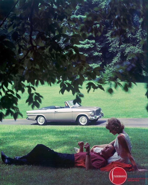 Promotional image for 1963 Studebaker Lark Daytona Convertible.