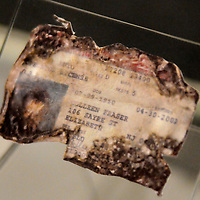 The driver license of Colleen Fraser, a victim of Flight 93 is one of the several artifacts on display at the Flight 93 National Memorial Visitor Center. Starting today, following the dedication, visitors can walks among the displays that retell the events of the terrorist attacks on the World Trade Center, Pentagon and Flight 93 from 14th years ago near Shanksville, Pennsylvania on September 10, 2015.  UPI/Archie Carpenter