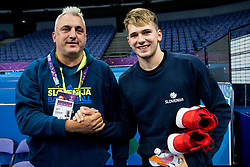 Father Sasa Doncic with his son Luka Doncic of Slovenia at training session during of the FIBA EuroBasket 2017 at Hartwall Arena in Helsinki, Finland on September 4, 2017. Photo by Vid Ponikvar / Sportida