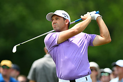 May 4, 2019 - Charlotte, NC, U.S. - CHARLOTTE, NC - MAY 04: Sergio Garcia plays his shot from the 13th tee in round three of the Wells Fargo Championship on May 04, 2019 at Quail Hollow Club in Charlotte,NC. (Photo by Dannie Walls/Icon Sportswire) (Credit Image: © Dannie Walls/Icon SMI via ZUMA Press)