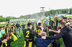 Players of Radomlje celebrate after qualilfying to the First Slovenian league Prva liga during football match between NK Kalcer Radomlje and NK Brezice Terme Catez in 20th Round of 2. SNL 2020/21, on May 15, 2021 in Sports park Radomlje, Slovenia. Photo by Vid Ponikvar / Sportida