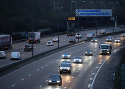 © Licensed to London News Pictures. 05/01/2021. Leatherhead, UK. Traffic is light on the M25 near Leatherhead in Surrey ahead of the start of the new lockdown.  Prime Minister Boris Johnson has announced a new lockdown for England as the country struggles to cope with the new Covid-19 variant. Photo credit: Peter Macdiarmid/LNP