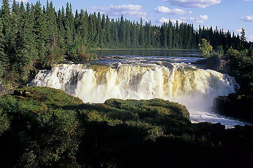 Pisew Falls in Heritage Park. Manitoba. Canada.