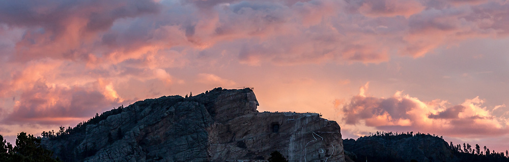 Crazy Horse Memorial, Sunrise. Photo taken October 1, 2017, on road to Custer and Sunday breakfast at Skogen Kitchen. October 1, day of Autumn Volksmarch, when the public can hike up what's billed as the world's largest mountain carving in progress.