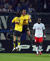 Photo: Chris Ratcliffe.<br /> Hamburg v Arsenal. UEFA Champions League, Group G. 13/09/2006.<br /> Gilberto (R) of Arsenal celebrates scoring the first goal with Tomas Rosicky.