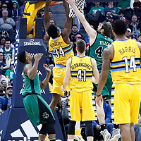 10 March 2017: Denver Nuggets center Roy Hibbert (34) goes for the layup against Boston Celtics center Tyler Zeller (44) during the Denver Nuggets 119-99 victory over the Boston Celtics, at the Pepsi Center, Denver, Colorado, USA.