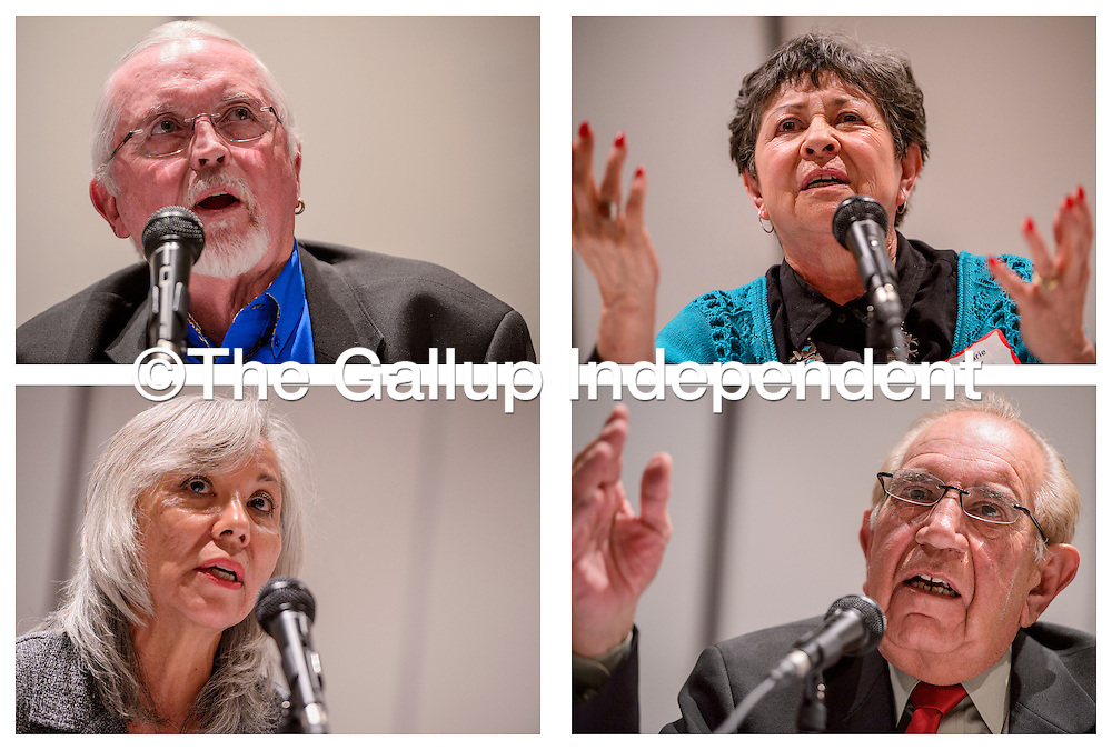 """021615       Cable Hoover<br /> <br /> Clockwise from top, mayoral candidates Jackie D. McKinney, Rose Marie """"Shorty"""" Sandoval, George Galanis and Patti Teshima Herrera answer questions during a forum at UNM-Gallup Monday."""