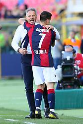 """Foto LaPresse/Filippo Rubin<br /> 27/04/2019 Bologna (Italia)<br /> Sport Calcio<br /> Bologna - Empoli - Campionato di calcio Serie A 2018/2019 - Stadio """"Renato Dall'Ara""""<br /> Nella foto: SINISA MIHAJLOVIC (ALLENATORE BOLOGNA F.C.) E ESULTANZA GOAL BOLOGNA RICCARDO ORSOLINI (BOLOGNA F.C.)<br /> <br /> Photo LaPresse/Filippo Rubin<br /> April 27, 2019 Bologna (Italy)<br /> Sport Soccer<br /> Bologna vs Empoli - Italian Football Championship League A 2017/2018 - """"Renato Dall'Ara"""" Stadium <br /> In the pic: SINISA MIHAJLOVIC (BOLOGNA'S TRAINER) CELEBRATION GOAL BOLOGNA RICCARDO ORSOLINI (BOLOGNA F.C.)"""