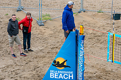 Press in action. The DELA NK Beach volleyball for men and women will be played in The Hague Beach Stadium on the beach of Scheveningen on 22 July 2020 in Zaandam.