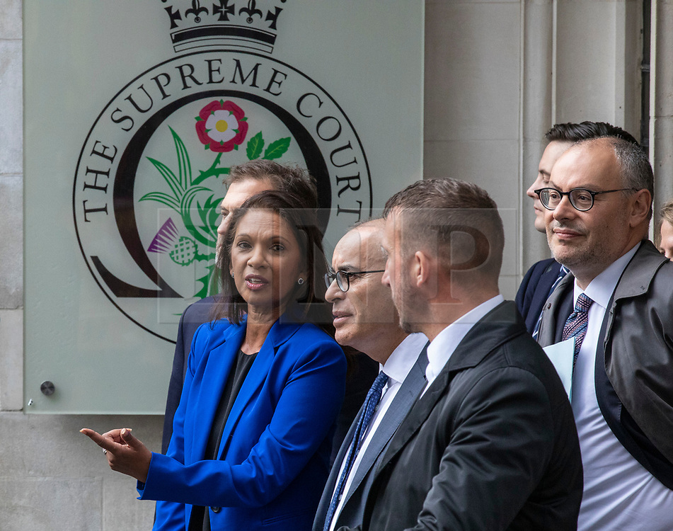 © Licensed to London News Pictures. 24/09/2019. London, UK. Gina Miller and her team outside the Supreme Court in London after judges ruled that Prime Minister Boris Johnson's suspension of Parliament was unlawful. Photo credit: Rob Pinney/LNP