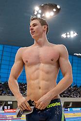Ben Proud of Plymouth Leander celebrates winning the Mens 50m Freestyle Final - Photo mandatory by-line: Rogan Thomson/JMP - 07966 386802 - 16/04/2015 - SPORT - SWIMMING - The London Aquatics Centre, England - Day 4 - British Swimming Championships 2015.