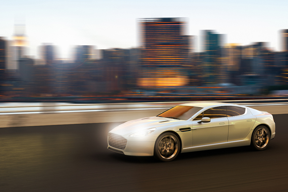 3D rendering of a luxury car in motion in front of Manhattan skyline, New York City, New York, USA