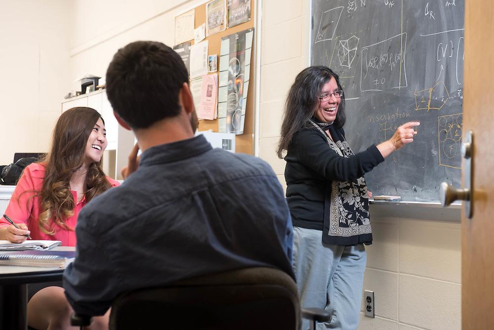 Professor Bulbul Chakraborty teaching a physics class at Brandeis University in Waltham, MA.