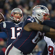 FOXBOROUGH, MASSACHUSETTS - JANUARY 14:  Quarterback Tom Brady #12 of the New England Patriots in action during the Houston Texans Vs New England Patriots Divisional round game during the NFL play-offs on January 14th, 2017 at Gillette Stadium, Foxborough, Massachusetts. (Photo by Tim Clayton/Corbis via Getty Images)