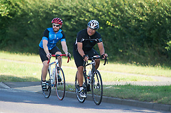 ©Licensed to London News Pictures 29/08/2019.<br /> Swanley ,UK. Early morning sunny weather as these two cyclists enjoy a bike ride near Swanley in Kent. Photo credit: Grant Falvey/LNP