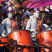 Drummers at the Balayong Festival street dancing competition. The festival at the beginning of March commemorates the founding anniversary of the City of Puerto Princesa, Palawan, highlighted by balayong tree-planting, street dancing and a colourful floral parade depicting the Palawan cherry blossoms from which the festival derives its name. The Palawan cherry is one of the most popular flowering trees in Palawan and known by the locals as the Balayong, a beautiful tree that when it is in full bloom resembles the cherry blossoms of Japan.