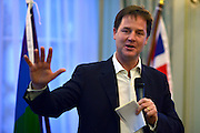 "© Licensed to London News Pictures. 11/09/2012. London, UK Nick Clegg makes a speech at a reception to celebrate the Government's Consultation on Gay Marriage. Today, 11 September 2012. In the speech he withdrew comments about opponents of gay marriage which in an early draft released to media he called them ""bigots"". Photo credit : Stephen Simpson/LNP"