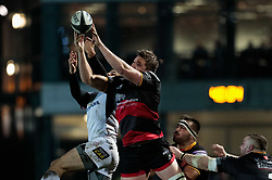 Dragons' Matthew Screech goes for the high ball<br /> <br /> Photographer Simon King/Replay Images<br /> <br /> Guinness Pro14 Round 10 - Dragons v Ulster - Friday 1st December 2017 - Rodney Parade - Newport<br /> <br /> World Copyright © 2017 Replay Images. All rights reserved. info@replayimages.co.uk - www.replayimages.co.uk
