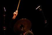 "Italian drummer Aldo Romano during a Romano/Sclavis/Texier Trio performance. ""Jazz ao Centro"" jazz festival is held twice a year in portuguese town of Coimbra."