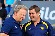 Cardiff City manager Neil Warnock and Burton Albion manager Nigel Clough during the EFL Sky Bet Championship match between Burton Albion and Cardiff City at the Pirelli Stadium, Burton upon Trent, England on 5 August 2017. Photo by Richard Holmes.