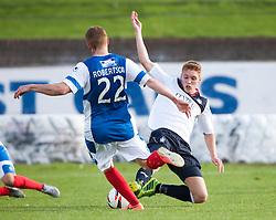 Cowdenbeath's Jon Robertson and Falkirk's Jay Fulton.<br /> Cowdenbeath 1 v 0 Falkirk, 14/9/2013.<br /> ©Michael Schofield.