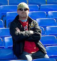 Burnley fans wait for the kick-off<br /> <br /> Photographer Stephen White/CameraSport<br /> <br /> Football - Barclays Premiership - Everton v Burnley - Saturday 18th April 2015 - Goodison Park - Everton<br /> <br /> © CameraSport - 43 Linden Ave. Countesthorpe. Leicester. England. LE8 5PG - Tel: +44 (0) 116 277 4147 - admin@camerasport.com - www.camerasport.com