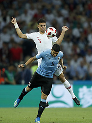 (L-R) Pepe of Portugal, Luis Suarez of Uruguay during the 2018 FIFA World Cup Russia round of 16 match between Uruguay and at the Fisht Stadium on June 30, 2018 in Sochi, Russia