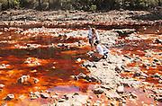 Blood red mineral laden water Rio Tinto river  Minas de Riotinto mining area, Huelva province, Spain