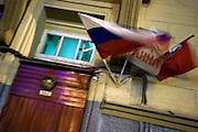 Eingang zum Wohnhaus von Anna Politkowskaja. Die Journalistin wurde am Samstag, dem 7. Oktober 2006 im Aufgang ihres Wohnhauses in der Moskauer Lesnaja-Strasse durch mehrere Schuesse getoetet.<br /> <br /> The entrance door to the home of murdered journalist Anna Politkovskaya. She was well known for her reporting on human rights abuses in Russia and the war in Chechnya. Anna Politkovskaya was killed on the 7th of October 2006.
