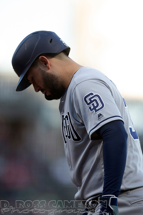 San Diego Padres' Eric Hosmer (30) comes to the plate against the San Francisco Giants during the second inning of a baseball game, Thursday, Aug. 29, 2019, in San Francisco. (AP Photo/D. Ross Cameron)
