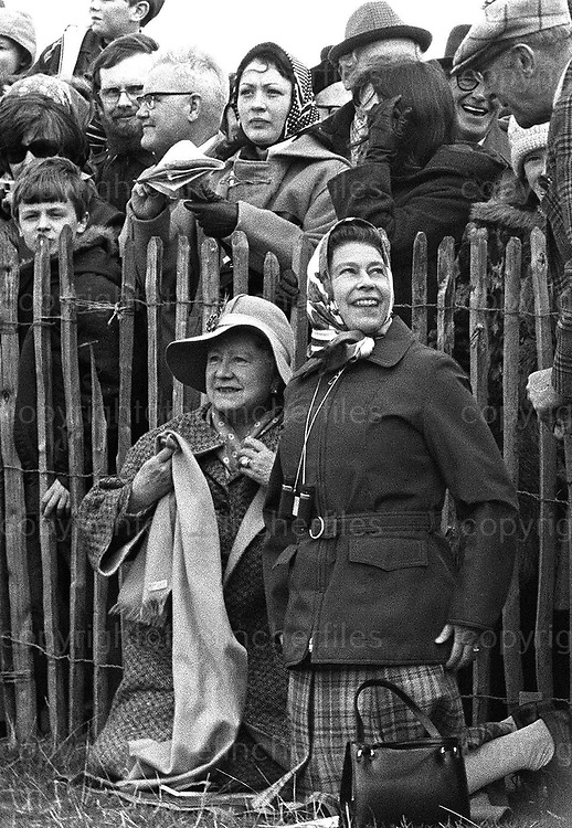 Queen Elizabeth with the Queen Mother at the Badminton Horse Trials, Badminton, Gloucestershire.1978 Photograph by Jayne Fincher