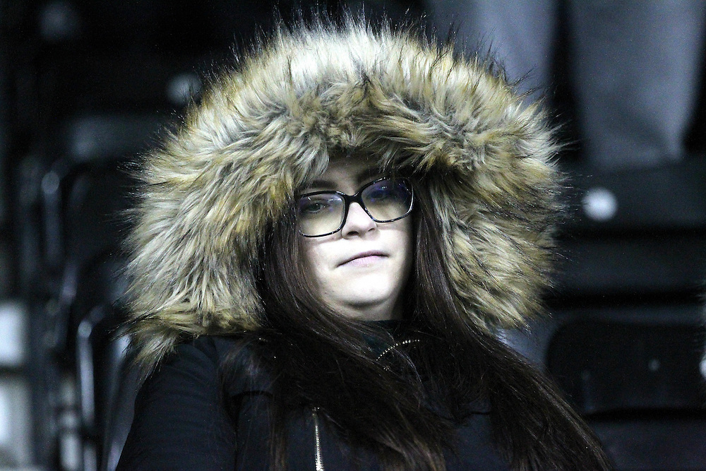 Blackpool Football CLub's Fans<br /><br />Photographer Mick Walker/CameraSport<br /><br />Football - The Football League Sky Bet Championship - Derby County v Blackburn Rovers - Wednesday 24th February 2016 - iPro Stadium - Derby<br /><br />© CameraSport - 43 Linden Ave. Countesthorpe. Leicester. England. LE8 5PG - Tel: +44 (0) 116 277 4147 - admin@camerasport.com - www.camerasport.com