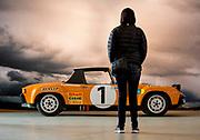 Image of an orange 1971 Porsche 914-6 GT rally car on display at Luftgekuehlt in San Pedro, California, America west coast by Randy Wells