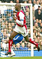 Patrick Vieira (Arsenal) celebrates his goal (Arsenal's 1st). Chelsea v Arsenal. 21/2/04.