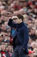 Football - 2019 / 2020 Premier League - Liverpool vs. Tottenham Hotspur<br /> <br /> Tottenham Hotspur manager Mauricio Pochettino shows a look of dejection, at Anfield.<br /> <br /> COLORSPORT/PAUL GREENWOOD