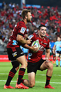 Crusaders player Will Jordan celebrates his try during their Super Rugby match. Crusaders v Waratahs. Trafalgar Park, Nelson, New Zealand. Saturday 1 February 2020. ©Copyright Photo: Chris Symes / www.photosport.nz