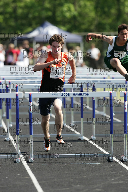 Hamilton, Ontario ---06/06/08--- Andrew Deugo of Almonte in Almonte competes in the sprint hurdles at the 2008 OFSAA Track and Field meet in Hamilton, Ontario..