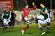 Ashley Nadesan (10) of Crawley Town battles for possession with Niall Canavan (6) of Plymouth Argyle during the EFL Sky Bet League 2 match between Plymouth Argyle and Crawley Town at Home Park, Plymouth, England on 28 January 2020.
