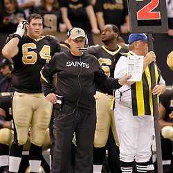 2009 November 30:  New Orleans Saints defensive coordinator Gregg Williams watches from the sideline during a 38-17 win by the New Orleans Saints over the New England Patriots at the Louisiana Superdome in New Orleans, Louisiana.
