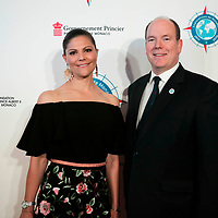 Crown Princess of Sweden and Prince Albert II of Monaco at a reception hosted by Prince Albert II of Monaco during The Ocean Conference on June 07, 2017.
