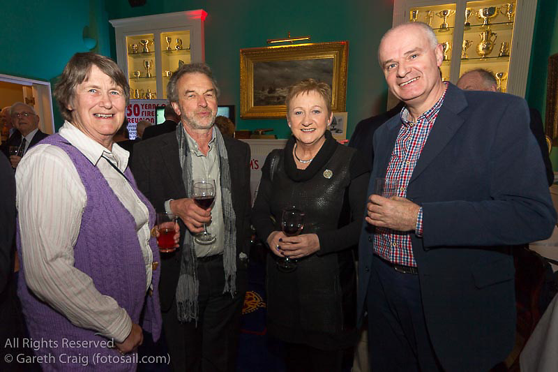 (l to r) Gill Buckley, Dan Buckley, Hialry Melbourne, and Andrew Lewis at the reunion night to celebrate 50 years of the Irish Fireball Class, held at the Royal St George YC.