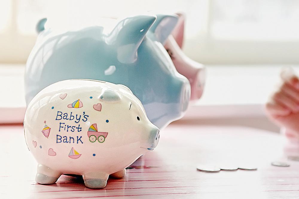 Baby's first piggy bank.