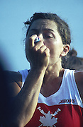 Banyoles, SPAIN, Canadian Women's Eight. Gold Medalist; Asthmatic athlete using inhaler/puffer. crew, Kirsten BARNES , Shannon CRAWFORD , Megan DELEHANTY , Kathleen HEDDLE , Marnie McBEAN , Jessica Jessie MONROE , Brenda TAYLOR , Kay WORTHINGTON , Lesley THOMPSON - WILLIE (c) awards dock and  competing in the 1992 Olympic Regatta, Lake Banyoles, Barcelona, SPAIN.   [Mandatory Credit: Peter Spurrier: Intersport Images]